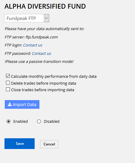 Fund Factsheet FTP Import Settings - Image